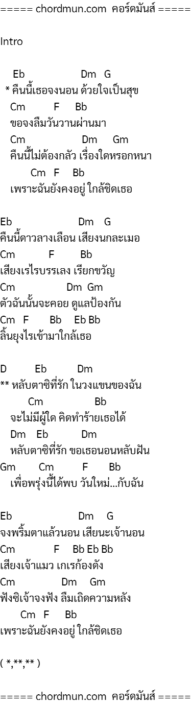 ตารางคอร์ดกีต้าร์ คอร์ดเพลง ง่ายๆ เพลง หลับตา (Ost. พรายพยากรณ์)