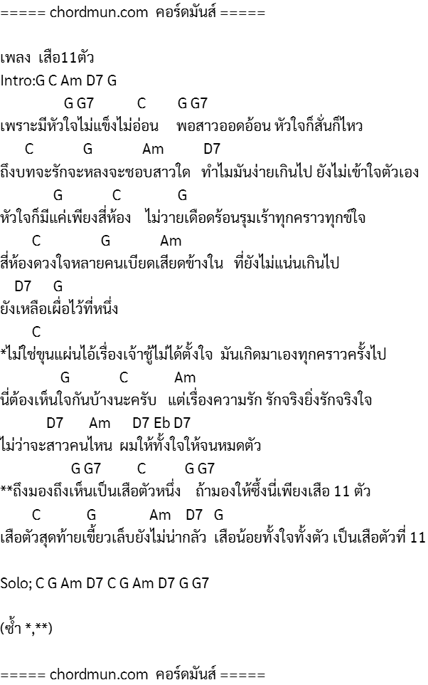 คอร์ดกีตา คอร์ดกีต้า ง่ายๆ เพลง เสือ11ตัว