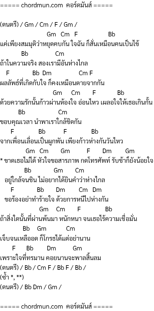 คอร์ด คอร์ดกีตาร์ ง่าย เพลง ใจสารภาพ
