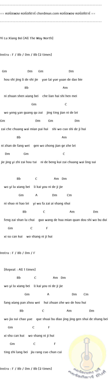 คอร์ดกีตาร์พื้นฐาน  เพลง Yi Lu Xiang Bei (All The Way North)
