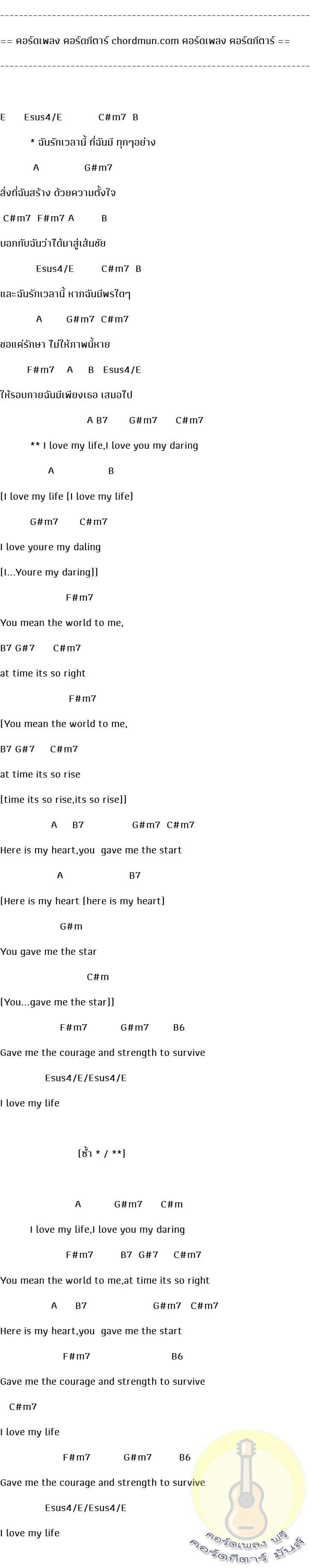 คอร์ดกีตาร์ ง่าย  เพลง ฉันรักเวลานี้
