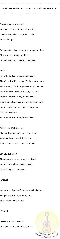 คอร์ดกีต้า ง่ายๆ  เพลง From the bottom of my broken heart