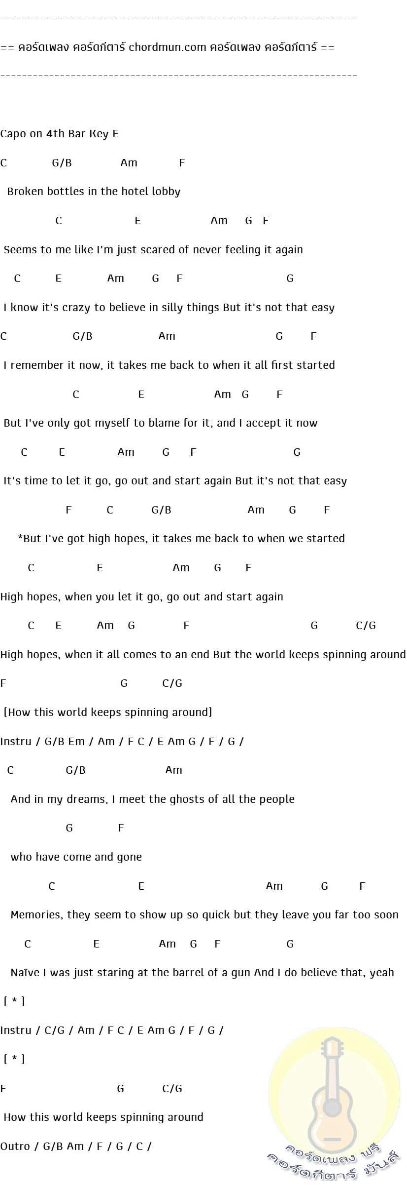 คอร์ดกีต้าร์  เพลง High Hopes
