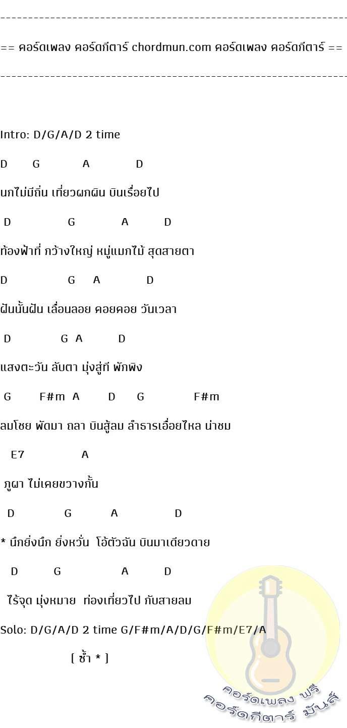 คอร์ดกีตาร์พื้นฐาน  เพลง พเนจร